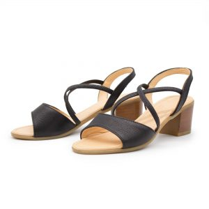 elegante Sandalette - Edelweiß - schwarz - Paar