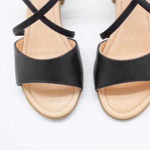 elegante Sandalette - Edelweiß - schwarz - Detail Oben