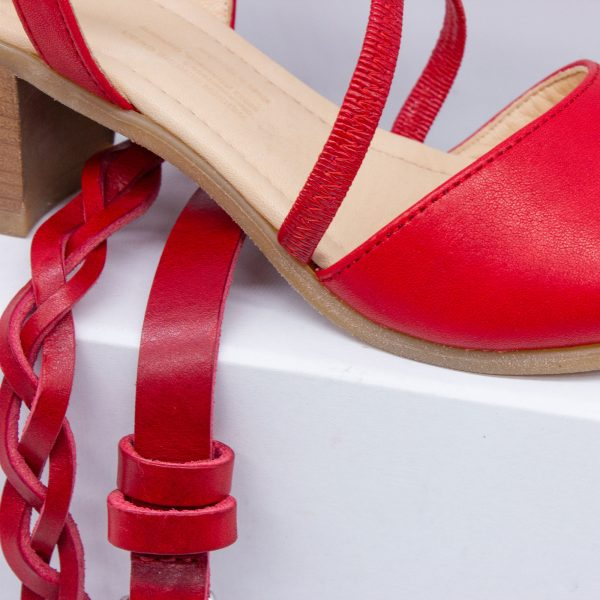 elegante Sandalette - rot - mit Gürtel