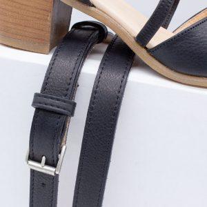 elegante Sandalette - schwarz - mit Gürtel