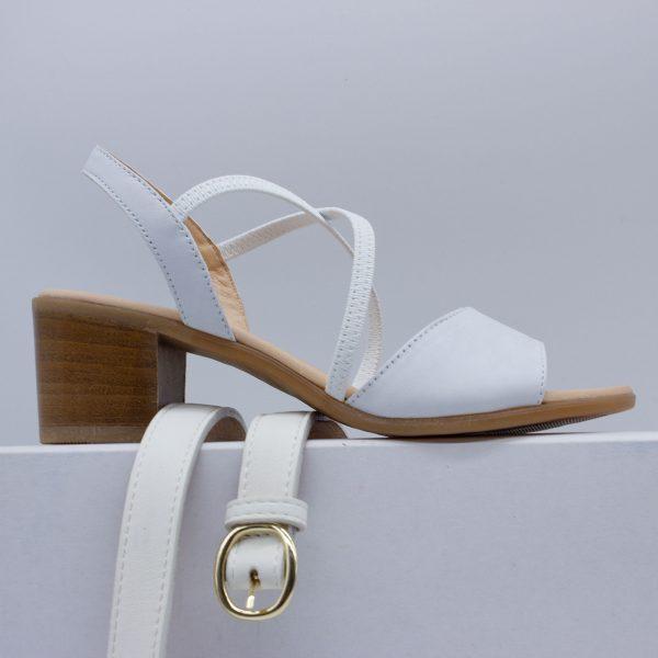 elegante Sandalette - weiß - mit Gürtel