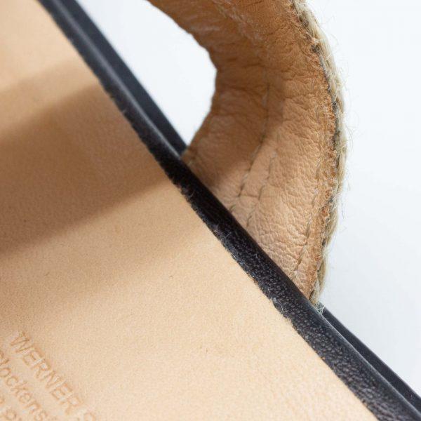 Pantolette mit Bast - Katzenpfötchen - schwarz -Detail Futter