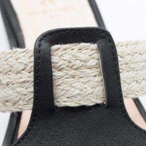 Pantolette mit Bast - Katzenpfötchen - schwarz -Detail Bast