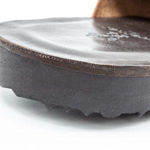 rustikale Herrenpantolette - Spitzwegerich - mokka - Detail Sohle