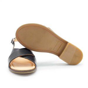 Sandale mit gekreuzten Riemen - Surfinia - schwarz -Sohle