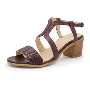 Sandalette mit Flechtdetail - Vergissmeinnicht - bordeaux - schräg