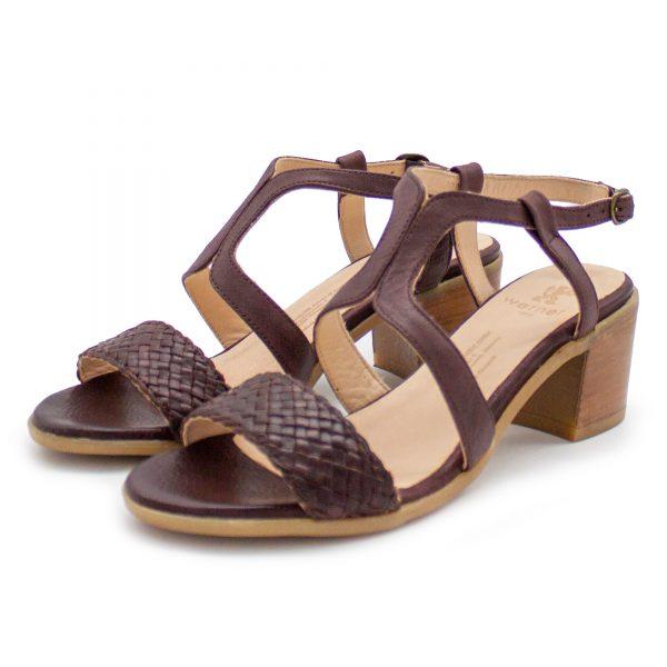 Sandalette mit Flechtdetail - Vergissmeinnicht - bordeaux - Paar