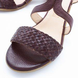 Sandalette mit Flechtdetail - Vergissmeinnicht - bordeaux - Detail Riemen