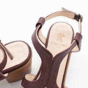 Sandalette mit Flechtdetail - Vergissmeinnicht - bordeaux - Detail Prägung