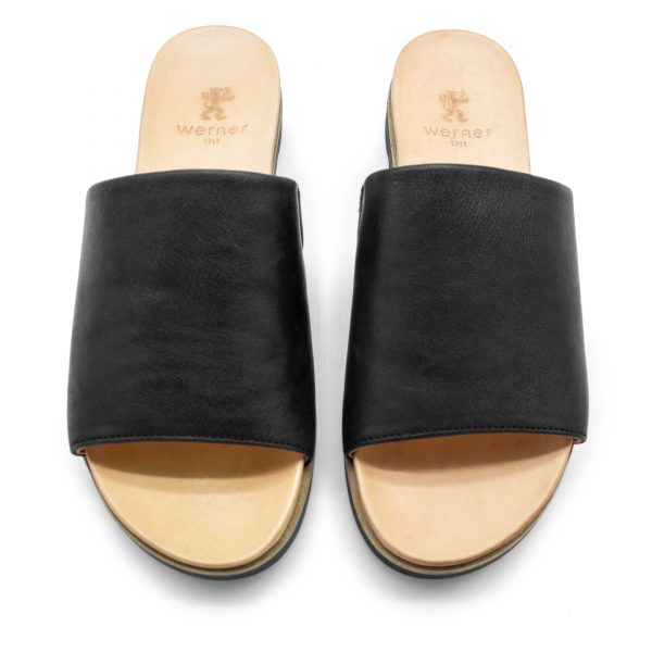 Pantolette mit breitem Riemen - Windrose - Oben - schwarz