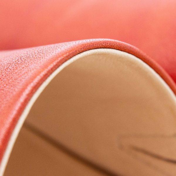 Pantolette mit breitem Riemen - Windrose - Detail Lederfutter - rostrot