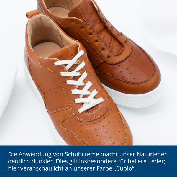 Farbunterschied durch Schuhcreme